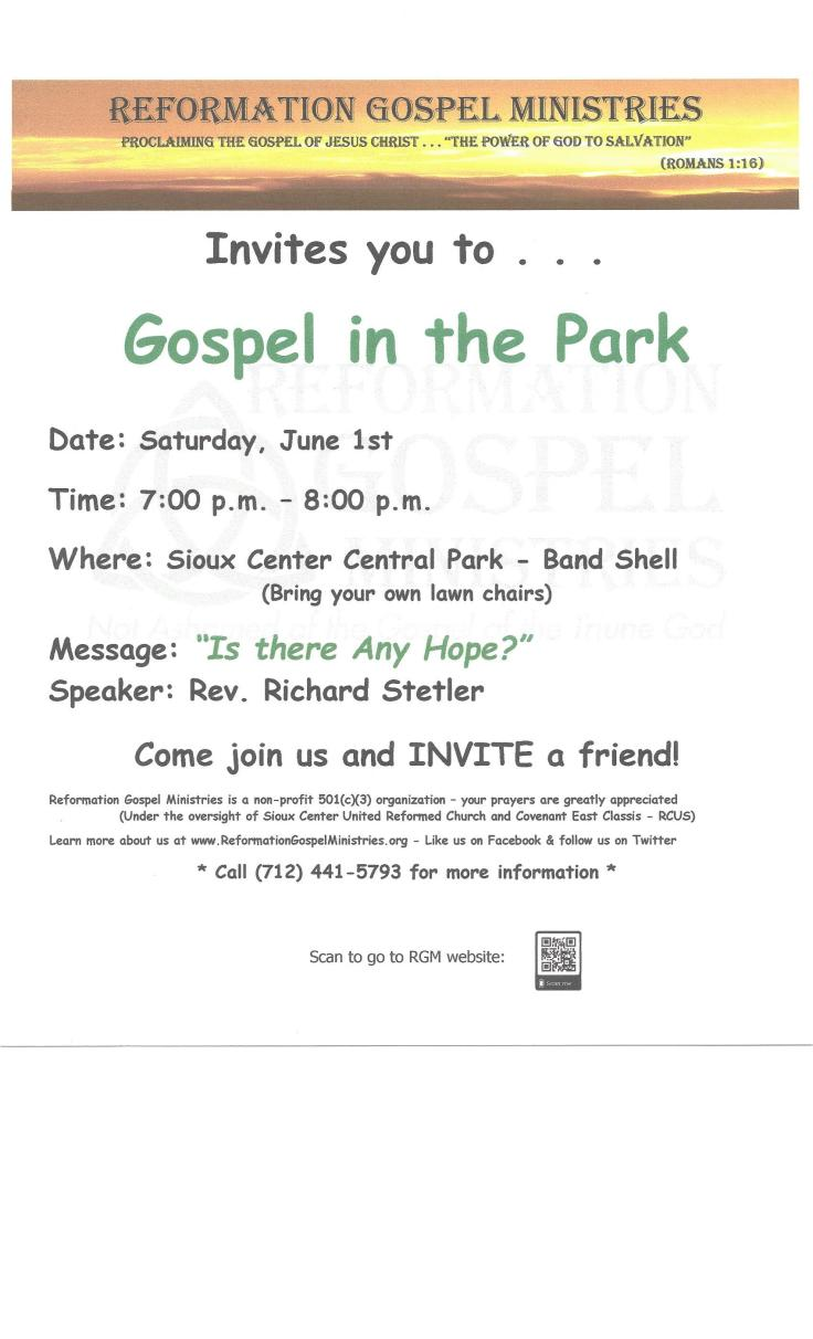 Poster - Gospel in the Park 060119