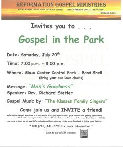 Gospel in the Park Poster - 072019