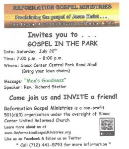 Invitation - Gospel in the Park 072019