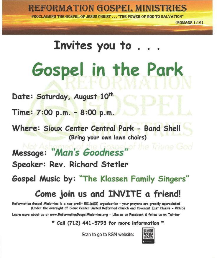 Gospel in the Park Poster - 081019